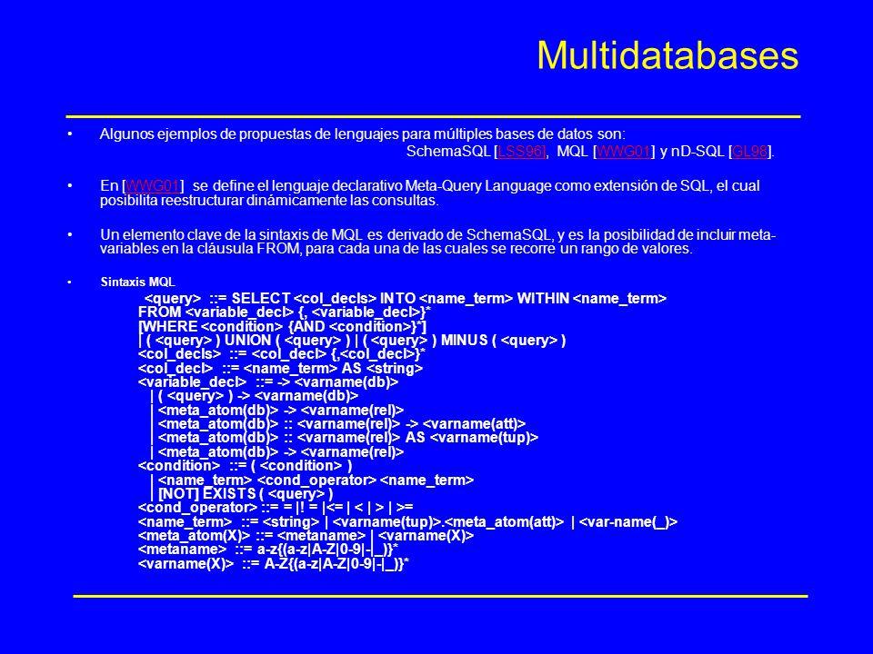 Multidatabases Algunos ejemplos de propuestas de lenguajes para múltiples bases de datos son: SchemaSQL [LSS96], MQL [WWG01] y nD-SQL [GL98].
